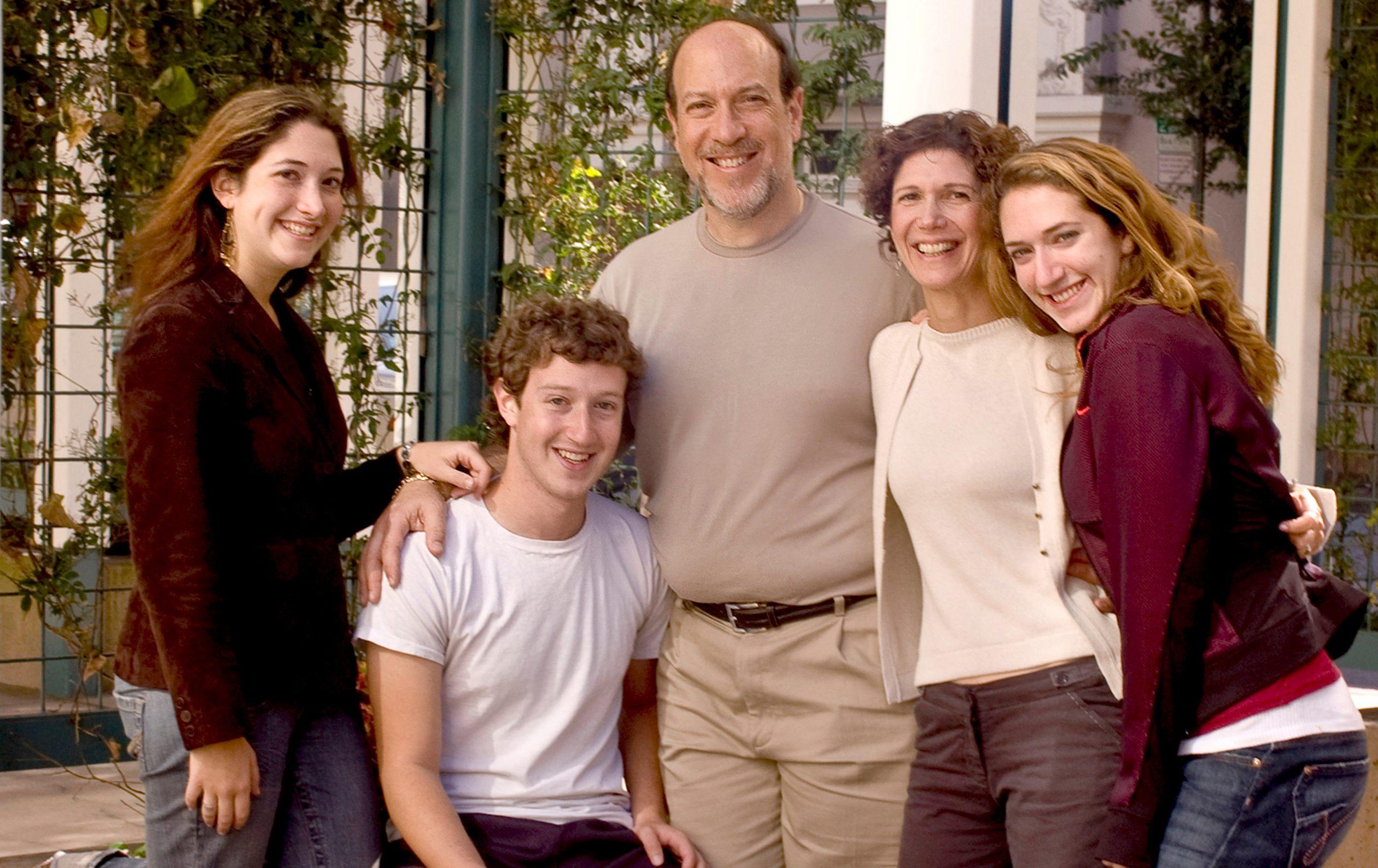 A Zuckerberg család 2005-ben a Facebook főhadiszállásán (Randi és Mark a kép bal oldalán).