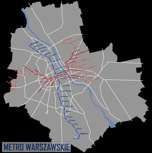 varsói metró térkép