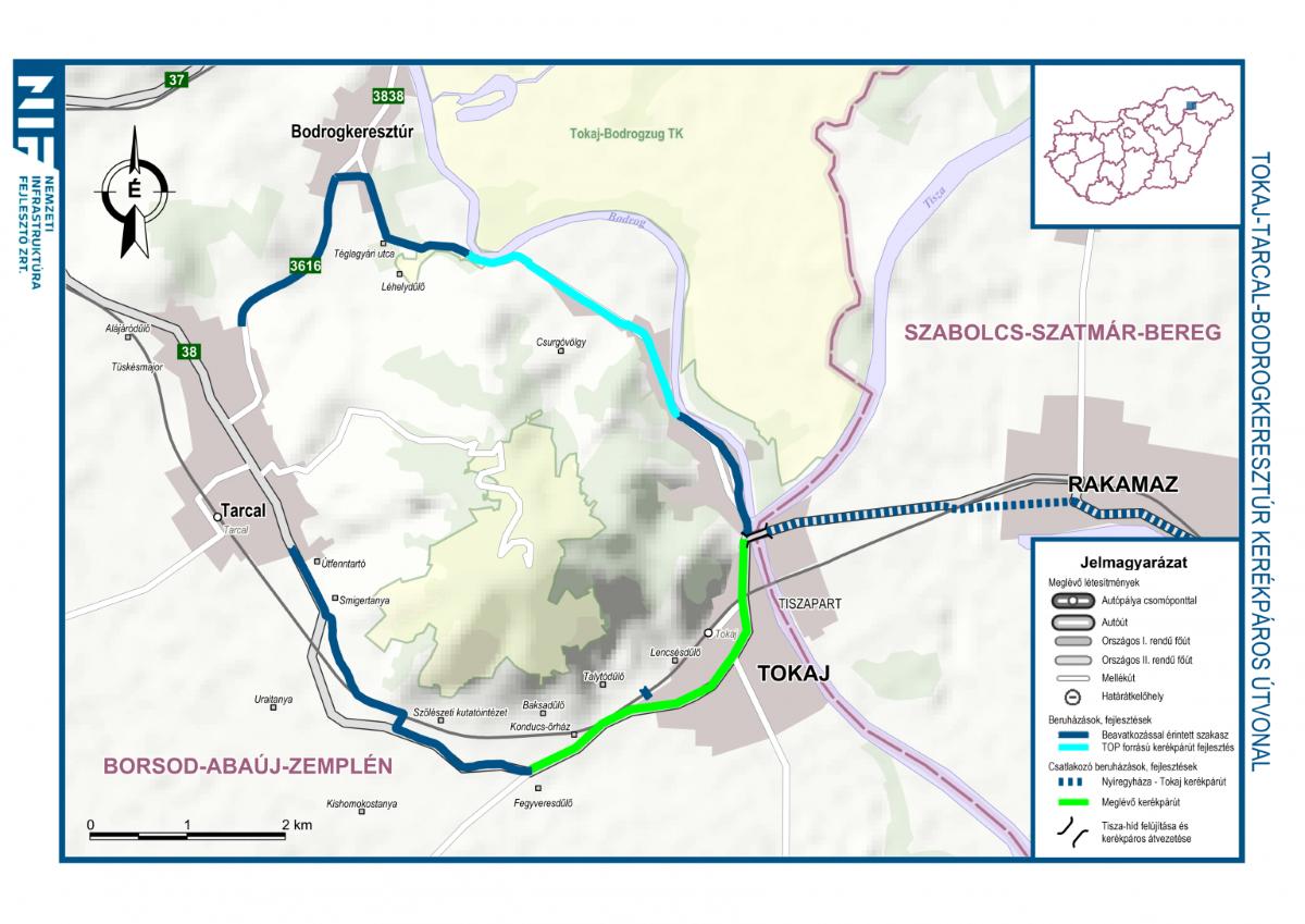 Tokaj bicikliút térkép