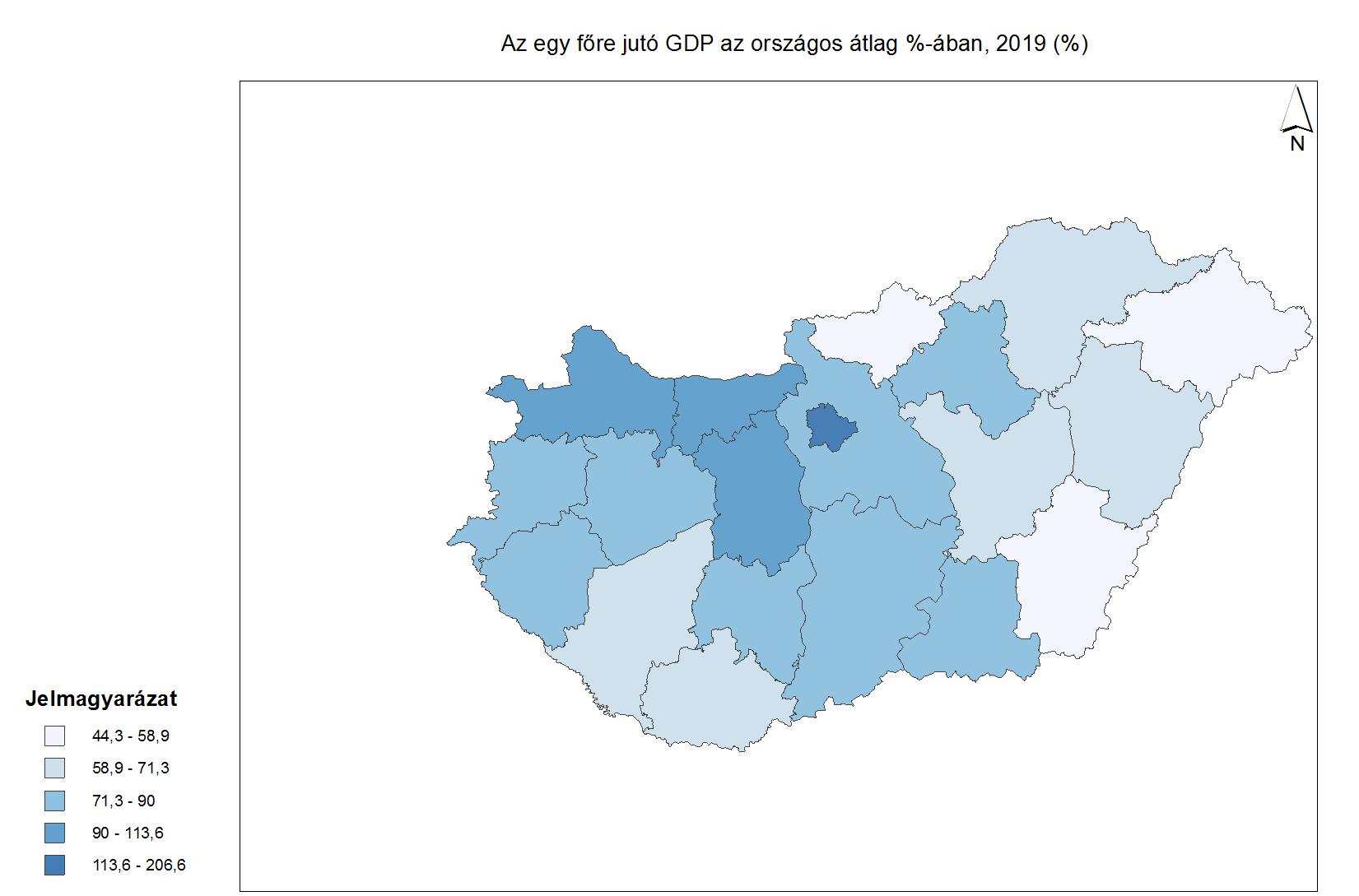 egy főre eső GDP megyénként