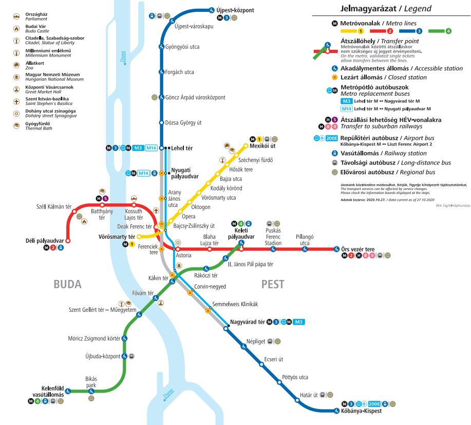 Budapest metró térkép
