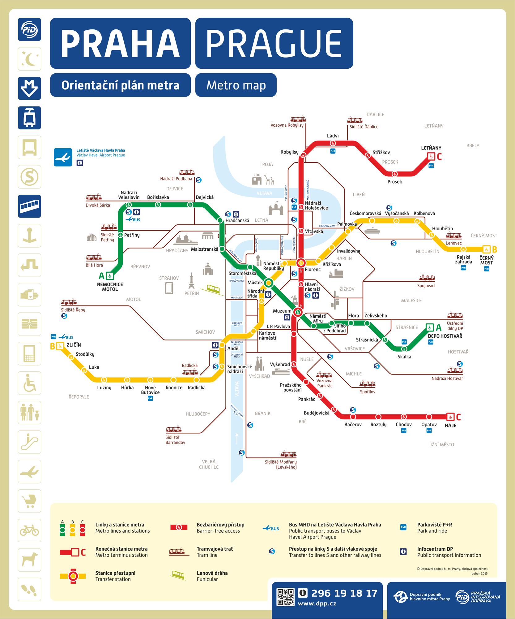 prágai metró térkép