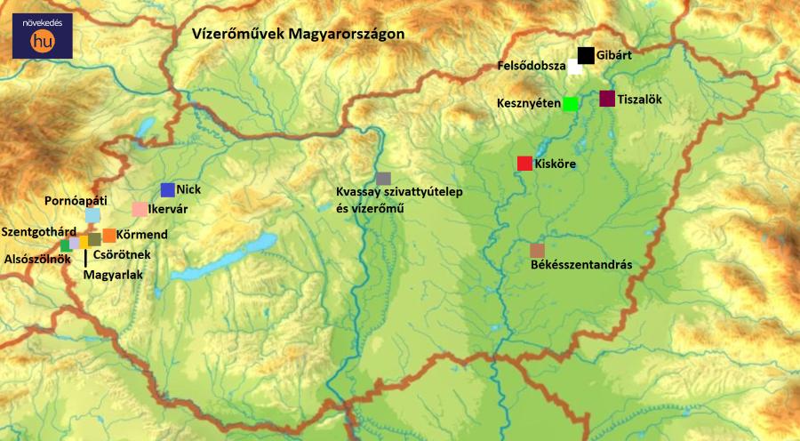 vízerőművek Magyarországon térkép