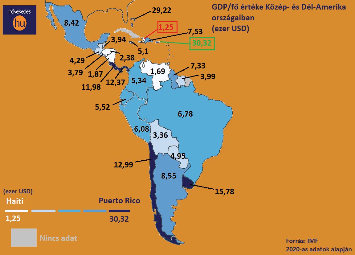 GDP térkép K.-D.-Amerika