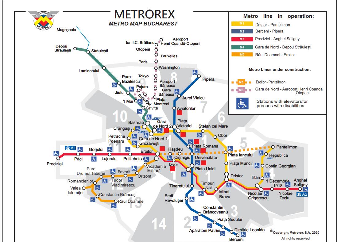 bukaresti metróhálózat térkép