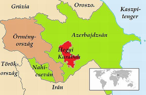 örmény - azeri konfliktus: Örményország Azerbajdzsán térképe