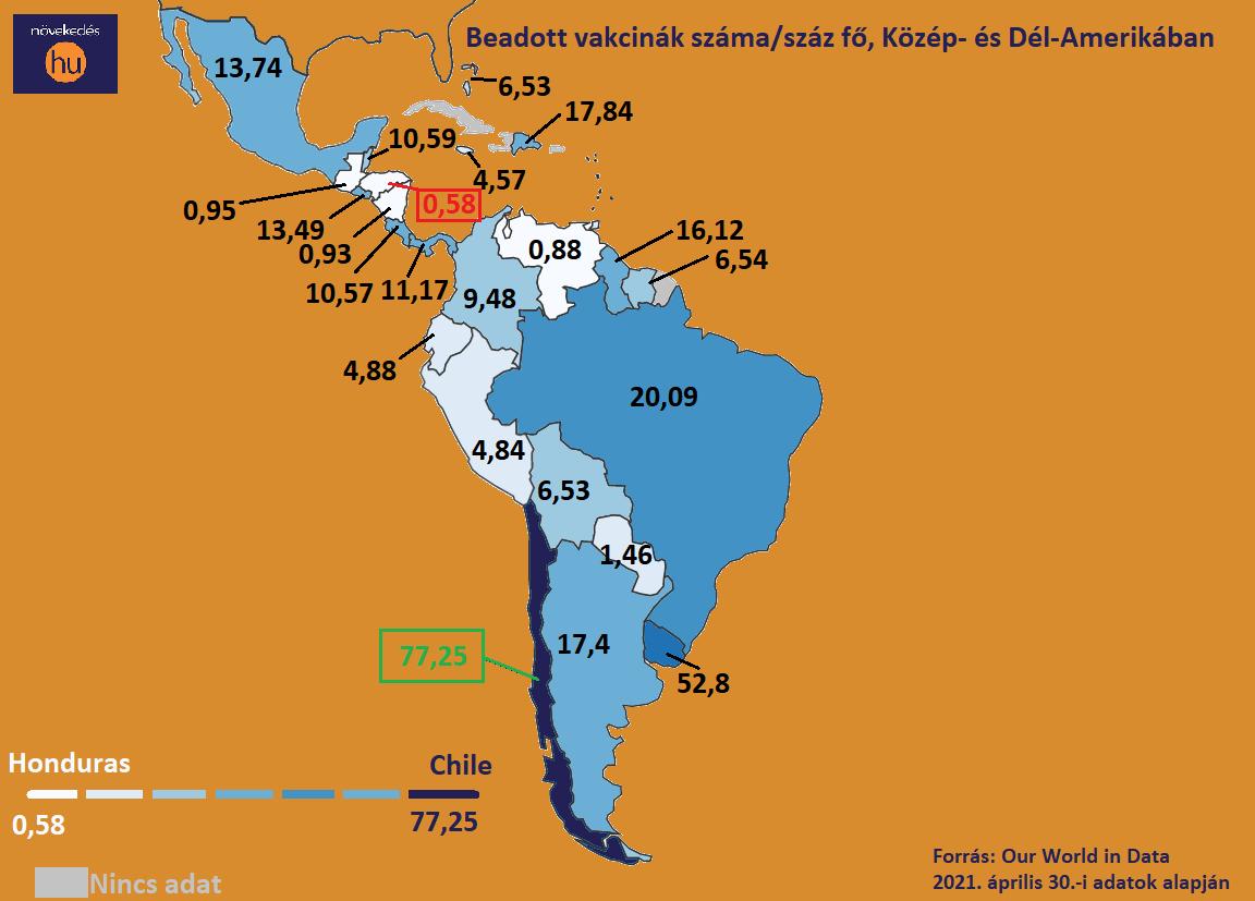 beadott vakcinák térkép K.-D.-Amerika